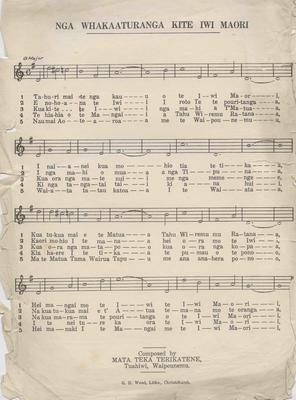 Sheet music, Nga Whakaaturanga Kite Iwi Maori