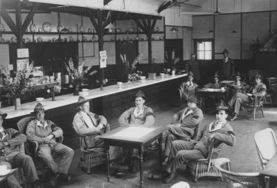 Soldiers seated in an army canteen