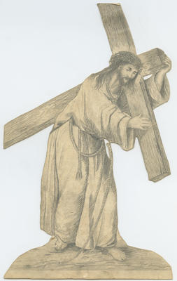 Sketch, Jesus carrying the cross to his crucifixion