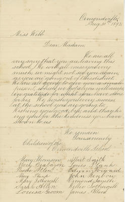 Letter, to Mary E Webb from the children of Ormondville School