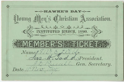 Ticket, Hawke's Bay Young Men's Christian Association