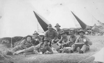 A group of soldiers outside tents