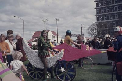 Hastings Blossom Festival parade, children on decorated bikes