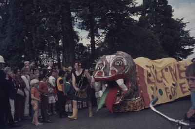 Hastings Blossom Festival parade, dragon float