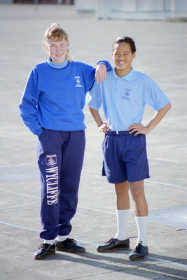 New Uniforms Wycliffe School, Toni-Marie McGregor and Jonathan Tekahu