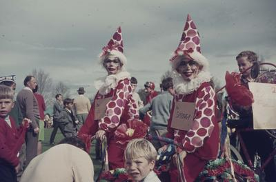 Hastings Blossom Festival parade, clowns on bikes