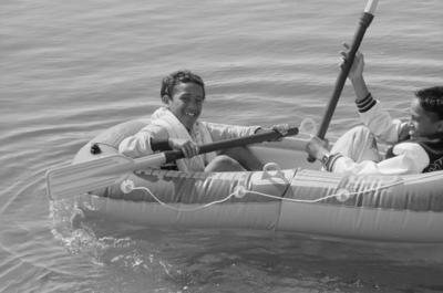 Newton Tekahu practises paddling on the bumper boat pond on Marine Parade