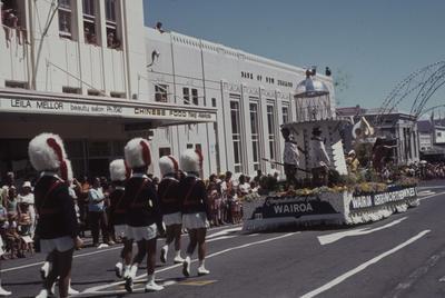 Napier Centennial parade, marching girls and the Wairoa float