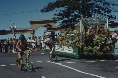 Napier Centennial parade, two people on bikes
