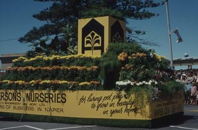 Napier Centennial parade, Anderson's Nurseries float