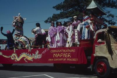 Napier Centennial parade, Hawke's Bay Chinese Association float