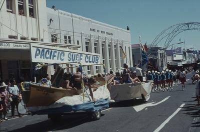 Napier Centennial parade, Pacific Surf Club float