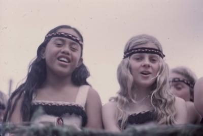 Hastings Blossom Festival parade, two young girls in Māori costume