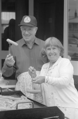 Napier Pakeke Lions Club member Len Reosenbeck and Volunteer Age Concern helper Rosie Gouder
