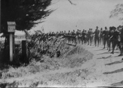 Marching soldiers from the New Zealand Medical Corps Reinforcements