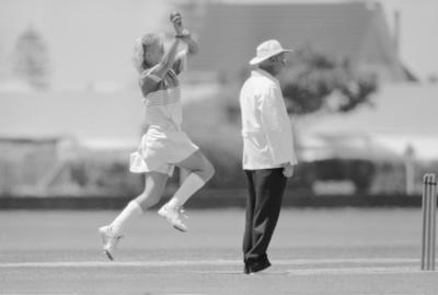 Central Districts cricket bowler Sue Hampton in action against New Zealand under-23 women at Nelson Park, Napier