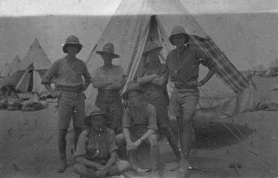 Tel el Kebir, six New Zealand soldiers in front of a tent