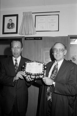 Unidentified Men Unveiling Plaque, Taradale High School