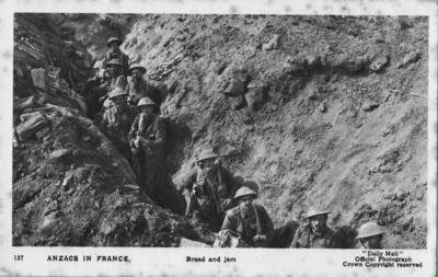 ANZACs in France eating bread and jam; Daily Mail