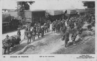 ANZACS in France, off to the trenches; Daily Mail