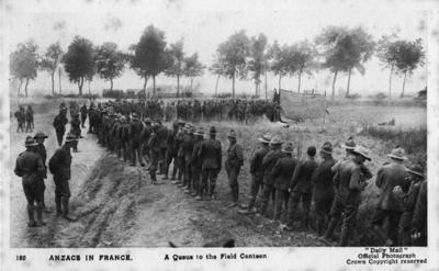 ANZACS in France, a queue to the field canteen; Daily Mail