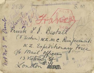 Envelope, addressed to Private L D Bestall