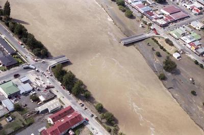 Photograph, damage to Wairoa Bridge after Cyclone Bola