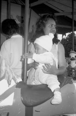 Bernadine Tahuri holds her niece Turi