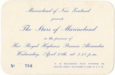 Invitation, Marineland of New Zealand presents the Stars of Marineland; Marineland of New Zealand; 2015/9/4