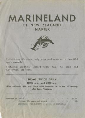 Advertising pamphlet, Marineland of New Zealand; Marineland of New Zealand; Daily Telegraph Print; 2015/9/8