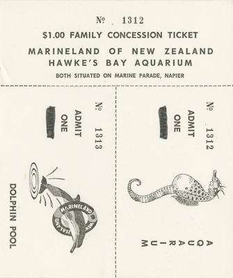 Concession tickets, Marineland of New Zealand and Hawke's Bay Aquarium; Marineland of New Zealand; Hawke's Bay Aquarium; 2015/9/12