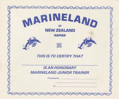 Certificate, Marineland of New Zealand, Napier