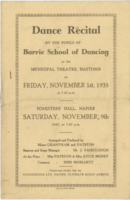 Programme, Barrie School of Dancing; Swailes Printing Co. Ltd; Barrie School of Dancing; 2015/24/4
