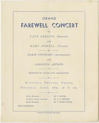 Programme, Grand Farewell Concert