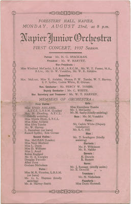 Programme, Napier Junior Orchestra
