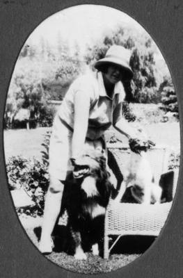 An unidentified woman in a garden