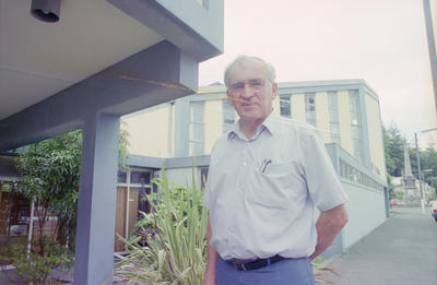 Guy Natusch outside his Wool Exchange building on Napier's Marine Parade