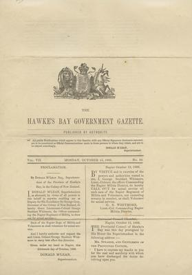Newspaper, Hawke's Bay Government Gazette; Wood, James; Withers, E; Whitmore, George Stoddart
