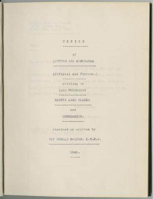 Copies of letters and memoranda; McLean, Donald