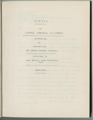 Copies of letters, memoranda and reports; McLean, Donald