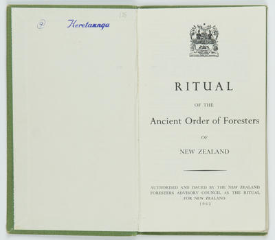Ritual of the Ancient Order of Foresters (AOF) of New Zealand