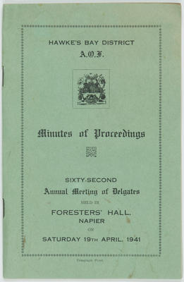 Booklet, Ancient Order of Foresters (AOF) Hawke's Bay District 62nd AGM Minutes