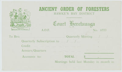 AOF Hawke's Bay District Court Heretaunga subscription card