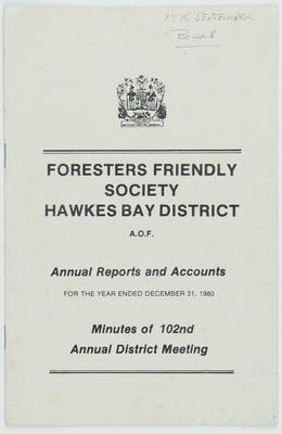 AOF Foresters Friendly Society, Hawke's Bay District, Minutes of 102nd Annual District Meeting; Ancient Order of Foresters (Hawke's Bay District); 2016/16/37