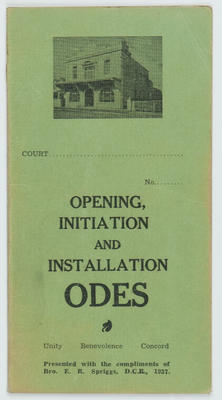 AOF Hawke's Bay District Opening Initiation and Installation Odes; Ancient Order of Foresters (Hawke's Bay District); 2016/16/39