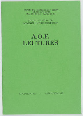 Booklet, AOF Lectures, Court Lud 10100, London United District