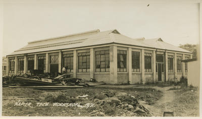 Earthquake damage, Napier Technical Institute workshop, 1931; Savage, Richard; 2016/12/6
