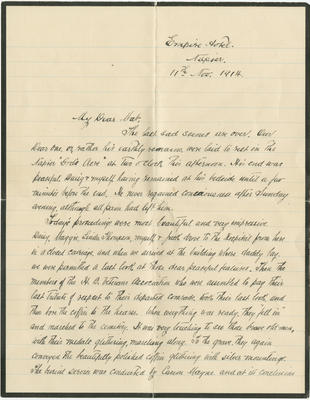Letter, Robert Ward