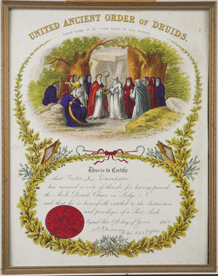 Certificate, United Ancient Order of Druids, Grand Lodge of the North Island of New Zealand, Victor Davidson