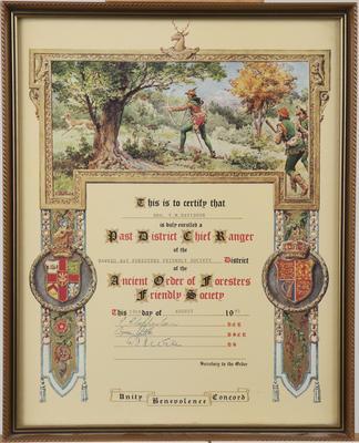 Certificate, Hawke's Bay Foresters Friendly Society District of the Ancient Order of Foresters